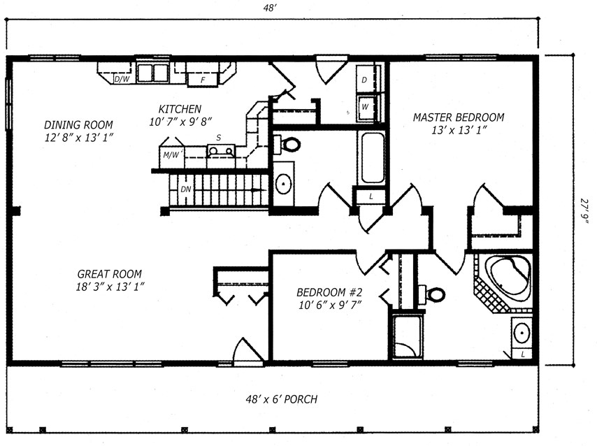 The Manitoulin Bungalow Kitchen Floor Plan
